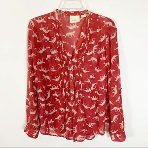 Anthropologie Maeve Red Cat Shirt Size 6